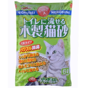 常陸化工 トイレに流せる木製猫砂 6L×6袋 [猫砂セット販売] [同梱不可] [送料無料] ドッグワールド