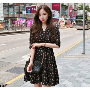 08488764bb5ba 韓国ファッション ワンピース 花柄 レディース オルチャン シャツ ワンピ 五分丈 半袖 夏
