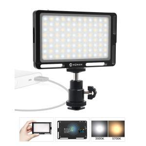 撮影照明ライト MOMAN 96LEDビデオライト 二色温度 CRI96 +高演色性 ポケットサイズ 小型 軽量 OLEDスクリーン 調光対|dole-store