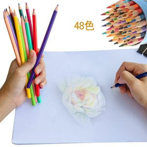 色鉛筆 水彩色鉛筆 塗り絵 画材セット 水彩画色鉛筆セット 美術 描き用 収納ケース付き (48色) dole-store