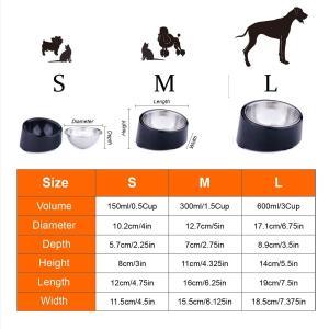 SuperDesign 犬・猫向けのステンレスチールボウル 給食器 傾斜がある 15度 食事中の体の負担をやわらげる メラミン製スタンド付き|dole-store