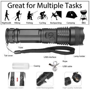 超高輝度 XHP70 LED 懐中電灯 5000ルーメン USB充電式 XHP-70四核LED 超強力 小型 懐中電灯 ズーム可能 ハンディ|dole-store