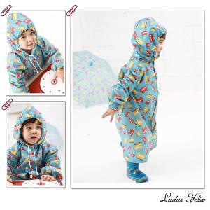 Ludus Felixレインコート キッズ 子供 男の子 女の子 レインウェア 雨具 カッパ (L, ブルー 汽車)|dole-store