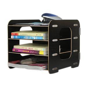 レターケース 木製 収納トレー マガジンファイル 本棚 3段式 横置き A4サイズ 書類/雑貨整理 小物入れ 文房具 オフィス用品 2カラー|dole-store