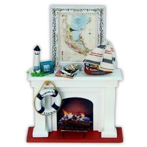 白い暖炉キット ミニチュア 手作りキット|doll-kamisugiya