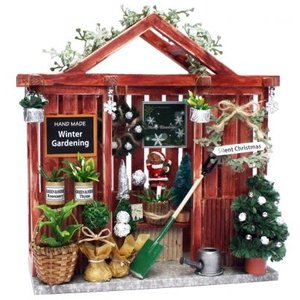 ビリーの手作りドールハウスキットクリスマスガーデンハウス 子供 夏休み工作キット ミニチュア doll-kamisugiya
