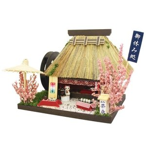 ビリーの手作りドールハウスキット 茶店 茅葺 懐かしい 子供 夏休み工作キット ミニチュア|doll-kamisugiya