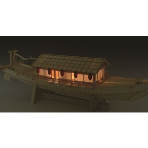 和船  屋形船(やかたぶね) 1/24  ウッディジョー 木製 キット|doll-kamisugiya