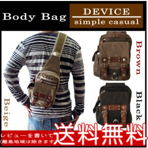 DEVICE Access ボディバッグ カジュアル ボディバッグ ワンショルダーバッグ 斜め掛けバッグ 帆布素材 DBH-30028 ベージュ色 ブラウン色 ブラック色|domani-s