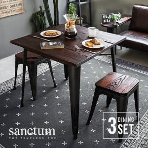 ダイニングテーブルセット 2人用 2人掛け テーブル チェア 3点セット sanctum 木製 無垢材 ヴィンテージ おしゃれ 男前インテリア 男前家具|don2