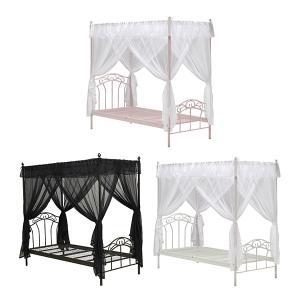 送料無料 天蓋付きベッド (PK/WH/BK) 姫ベッド ベッド ホワイト 白 ピンク 桜色 ブラック 黒 ベッドフレーム 可愛い シンプル シンデレラ お姫様 ガーリー 女の|dondondonnokagu