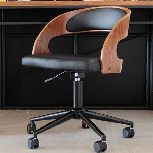 送料無料 オフィスチェア ブラウン おしゃれな曲木デザインのチェアー 便利な昇降・360度回転 キャスター付|dondondonnokagu