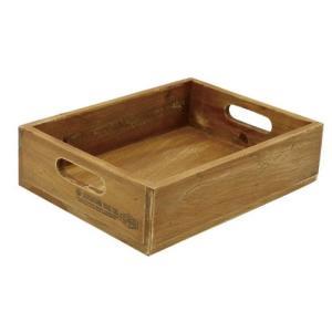 現代百貨 ウッド素材 ラスティック フラットボックス S H518 (収納ボックス)|donguri-tree