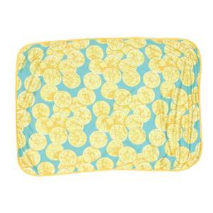 カラー:レモン 表がひんやりとした接触冷感素材のかわいい夏用ブランケットのSサイズ。 裏はパイル生地...