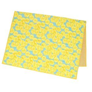 カラー:レモン 表がひんやりとした接触冷感素材のかわいい夏用キルトラグ。 裏はキルティング加工で丈夫...
