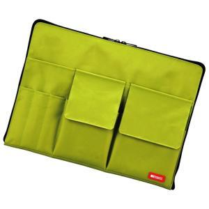 色:黄緑 商品紹介 カバンの中でかさばらない薄型タイプ! ●大きくコの字に開くメインポケット ●すぐ...
