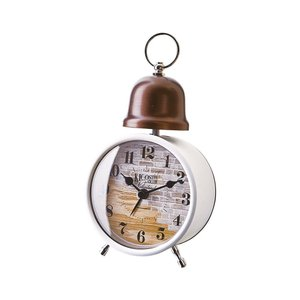 INTERFORM インターフォルム 置時計 クロシュ Croche 煉瓦調 アラーム ホワイト CL-1275WH (新生活応援 インテリア 置き時計 おしゃれ 北欧)|donguri-tree