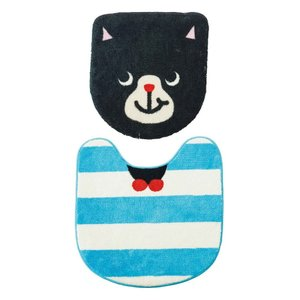 INTERFORM インターフォルム トイレマットセット フタカバー マット 洗浄便座用 Cat Smile キャットスマイル FL-9165 (新生活応援 インテリア おしゃれ セット)|donguri-tree