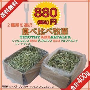 牧草2種類食べ比べ400g アルファルファ、チモシー1番刈りシングルプレス、ダブルプレス|donoubukuro