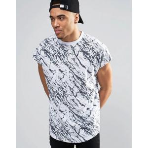 エイソス ASOS メンズ トップス Tシャツ ASOS Oversized Sleeveless T-Shirt With Cracked Marble Print White