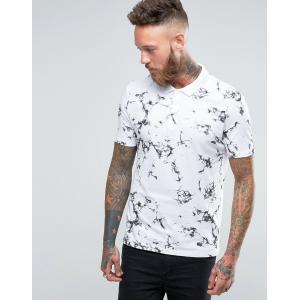エイソス ASOS メンズ トップス ポロシャツ ASOS Polo Shirt With Marble Texture Print White