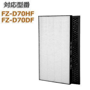 合計二枚入り FZ-D70HF 集じんフィルター 脱臭フィルター FZ-D70DF  KC-D70 KC-E70 空気清浄機用交換フィルター 集塵フィルター FZH70HF FZD70HF 互換 dorarecoya