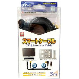 スマートケーブル(TV・インターネットケーブル)3m SM-2.5C-LF-03|doraya