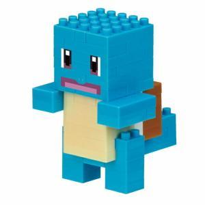 """ポケモンクエスト』の""""しかくい""""ポケモン「ポクセル」のゼニガメがナノブロックで登場! キーホルダー対..."""