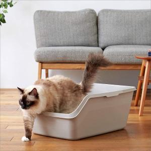 HY CAT ジャンボ グレー ハイキャット 本体 猫トイレ 大きい 飛散防止 一体成形 入口は低め...