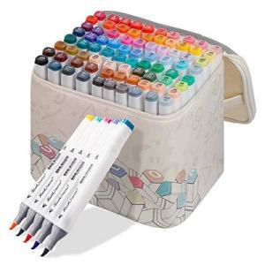 マルクペン30色セットソフトペンヘッドマーク 美術専門の2種類のペン先の初期手描きイラスト用油性カラ...