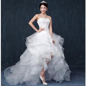 176e73cfd9f29 送料無料 ウェディングドレス ドレス 結婚式 二次会 ホワイト 花嫁 ウェディング アシンメトリー フィッシュテール 白ドレス ロングドレス 披露宴