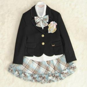 アウトレット 女児キッズフォーマルスーツ5点セット 黒 二つ釦 フリルスカート 130cm|doresukimono-kyoubi