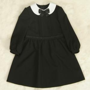 アウトレット 女児キッズフォーマルスーツ3点セット 白色ボレロ 黒地ワンピースタイプ 115cm|doresukimono-kyoubi