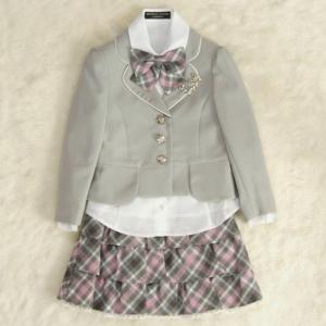 アウトレット 女児キッズフォーマルスーツ5点セット グレー 三つ釦ジャケット スーツタイプ 120cm ミチコロンドンブランド|doresukimono-kyoubi