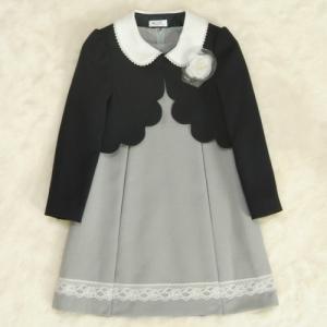アウトレット 女児キッズフォーマルアンサンブルスーツ3点セット 濃紺ボレロ グレージャンスカワンピタイプ 130cm|doresukimono-kyoubi