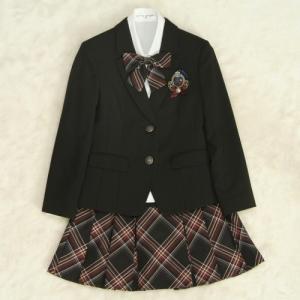アウトレット 女児ジュニアフォーマルスーツ5点セット 濃グレー シルバー二つ釦 スカート黒シルバーチェック  ウエスト総ゴム仕様 140cm|doresukimono-kyoubi