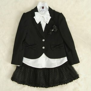 アウトレット 女児キッズフォーマルスーツ5点セット 黒 二つ釦 チュールレーススカート スーツタイプ 115cm|doresukimono-kyoubi