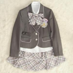 アウトレット 女児ジュニアフォーマルスーツ5点セット グレー ピンクパイピング使い シルバー二つ釦 スカート2段フリル 160cm