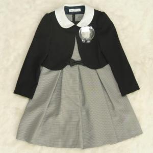 アウトレット 女児キッズフォーマルアンサンブルスーツ3点セット 濃紺ボレロ グレージャンスカワンピタイプ 120cm|doresukimono-kyoubi