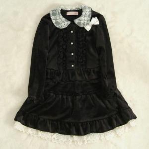 アウトレット 女児キッズフォーマルスーツ3点セット 黒 ベロア生地 ブラウススカートセット 130cm|doresukimono-kyoubi