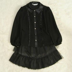 アウトレット 女児キッズフォーマルスーツ2点セット 黒 チュールレーススカート ブラウススカートセット 130cm|doresukimono-kyoubi