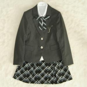 アウトレット 女児ジュニアフォーマルスーツ5点セット 濃グレー シルバー二つ釦 スカート黒ブルーラインチェック 140cm