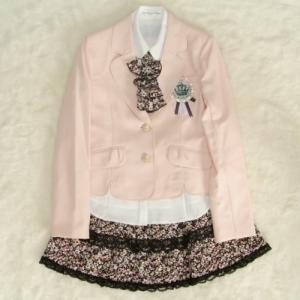 アウトレット 女児ジュニアフォーマルスーツ5点セット 淡ピンク ゴールド二つ釦 スカート花柄レース使い 165cm|doresukimono-kyoubi