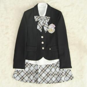 アウトレット 女児ジュニアフォーマルスーツ5点セット 紺 シルバー三つ釦 黒水色ピンクチェックスカート 165cm ELLEブランド