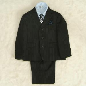 アウトレット 男の子スーツ5点セット 100cm〜130cm チャコールグレー シャツカラーブルー 三つ釦タイプ ハーフパンツセット|doresukimono-kyoubi