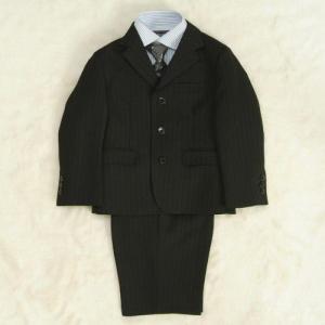 アウトレット 男の子スーツ5点セット チャコールグレー シャツカラーストライプ 三ツ釦 ハーフパンツタイプ 110cm|doresukimono-kyoubi