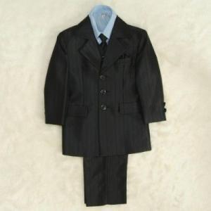 アウトレット 男の子スーツ6点セット 濃チャコールグレー シャツブルー 三つ釦タイプ ロングパンツセット マジックテープタイプベストシャツ付 110cm|doresukimono-kyoubi