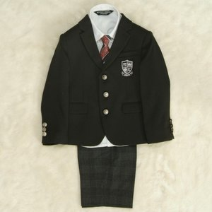 アウトレット 男の子スーツ5点セット 100cm〜130cm 黒 シャツカラー白 三つ釦タイプ チェックハーフパンツ ミチコロンドン|doresukimono-kyoubi