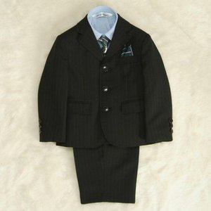 アウトレット 男の子スーツ5点セット チャコールグレー シャツカラーブルー 三つ釦タイプ ハーフパンツセット 120cm|doresukimono-kyoubi