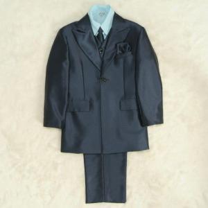 アウトレット 男児スーツ6点セット ネイビー シャツブルー 一つ釦ロングジャケット ロングパンツ マジックテープタイプベスト及びシャツ付 120cm|doresukimono-kyoubi